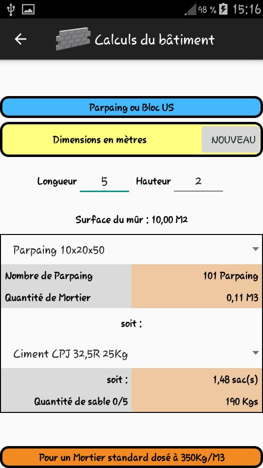 Calcul de la quantité de parpaings