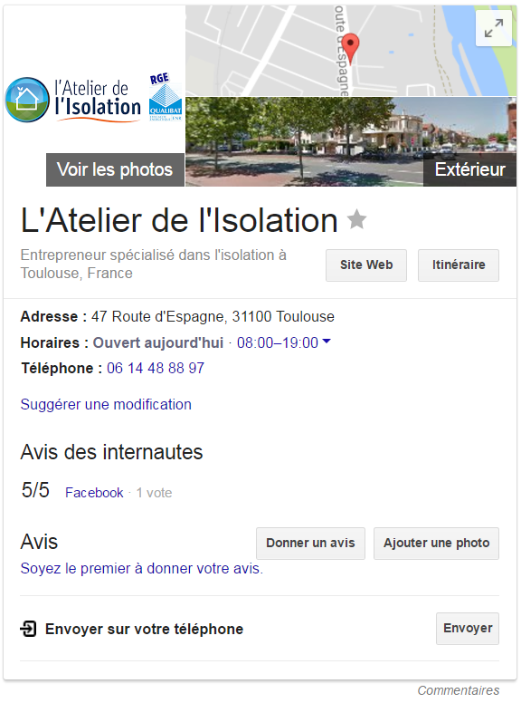 Exemple Fiche Google My Business