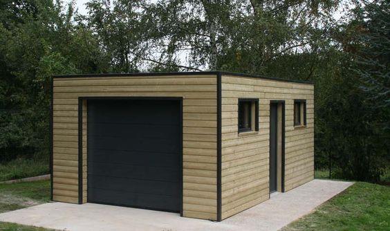 garage indépendant toit plat et ossature bois