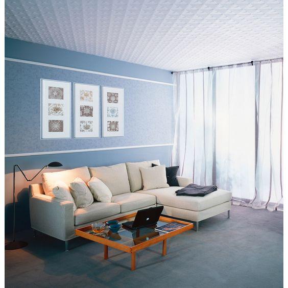 Plafond en dalles de polystyrène